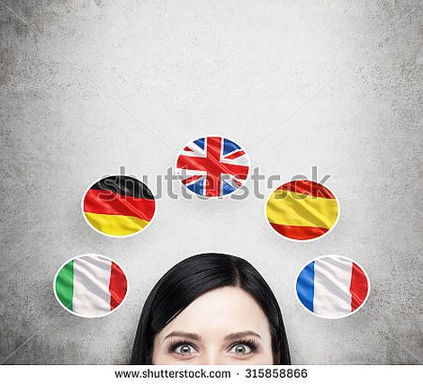 stock photo a concept of foreign language studying process a foreseen of the brunette girl surrounded by icons 315858866